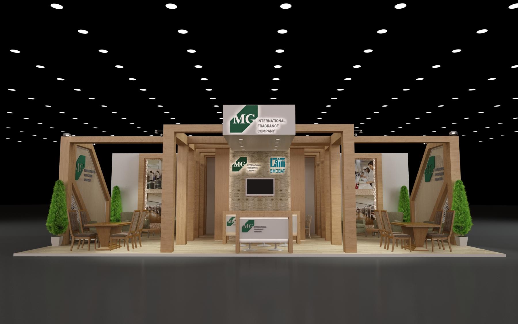 طراحی سه بعدی غرفه شرکت شوبات زیرمجموعه شرکت گلچیچک
